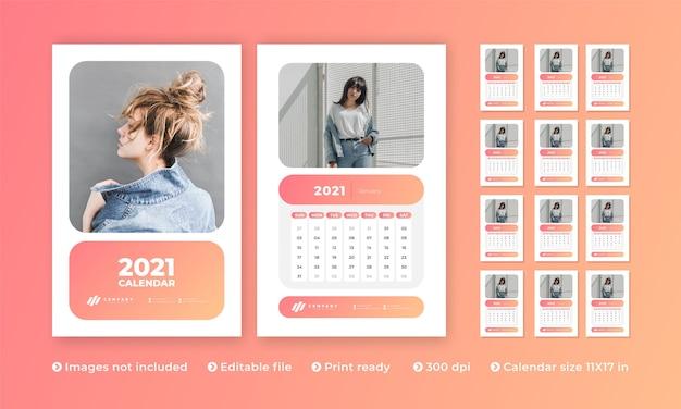 Wandkalender mit modernem kreativem design und zum monat Premium Vektoren