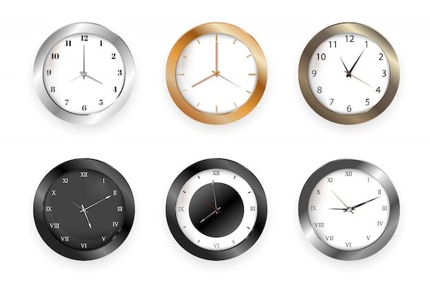 Wanduhren mit stunden- und minutenpfeilen für das geschäftsbüro Premium Vektoren