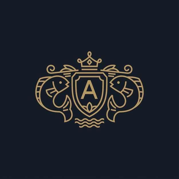 Wappen fisch mit kronenlogo Premium Vektoren