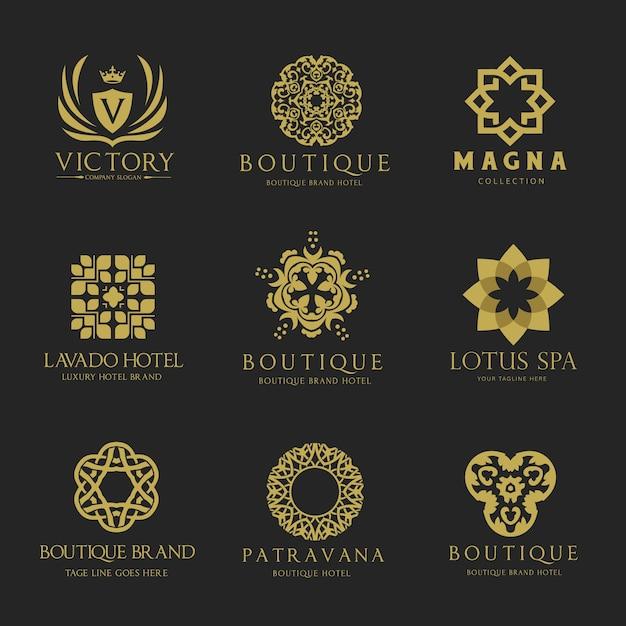 Wappen logo luxus-logo-set design für hotel, immobilien, spa, mode marke identität Premium Vektoren