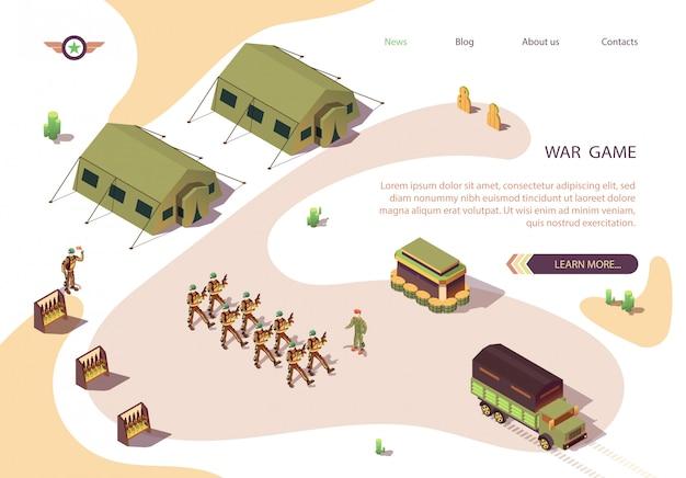 War game banner mit militärstützpunkt im dessert Premium Vektoren