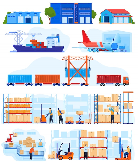 Warehouse logistic service vektor-illustrationssatz. Premium Vektoren