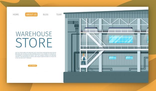 Warehouse store industrielle innenraumgestaltung Premium Vektoren