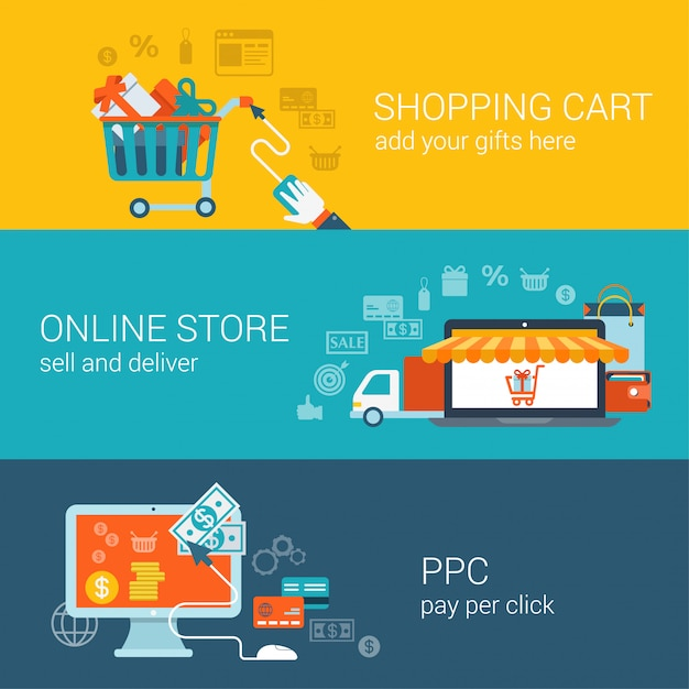 Warenkorb online-shop pay-per-click flache konzepte festgelegt. Kostenlosen Vektoren