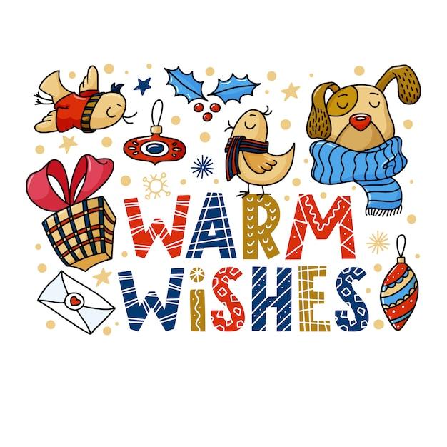 Warme wunschgrußkarte mit lustigem hund und vögeln Premium Vektoren