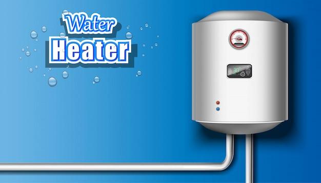 Warmwasserbereiter auf blauem hintergrund. Premium Vektoren