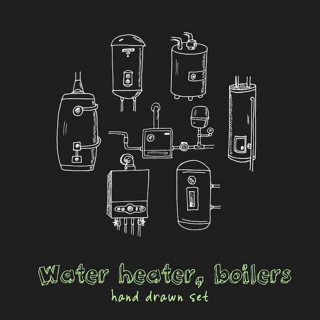 Warmwasserbereiter, handgezeichnetes doodle-set des kessels Premium Vektoren