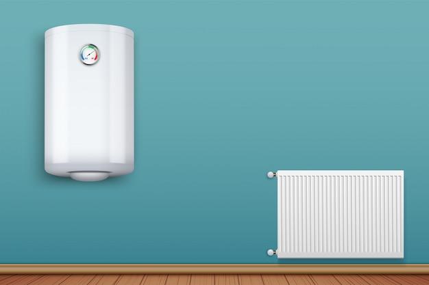 Warmwasserbereiter kessel an der wand und metallheizkörper im raum. Premium Vektoren