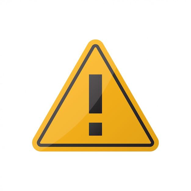Warnendes aufmerksamkeitszeichen der gefahr auf weiß Premium Vektoren