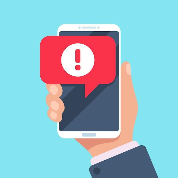 Warnmeldung auf dem smartphone-bildschirm. virusproblem oder spam-benachrichtigungskonzept Premium Vektoren