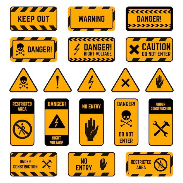 Warnschilder. gefahrenwarnung gelbes und schwarzes band, gift biohazard gestreift, hochspannungs-sicherheitsumfangselementsymbole gesetzt. sicherheitsausruf, aufmerksamkeit elektrizitätszone abbildung Premium Vektoren