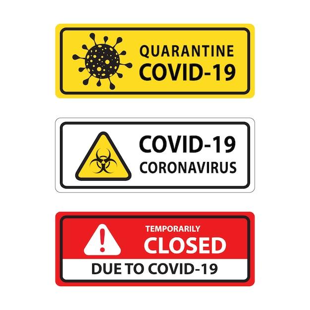 Warnung corona-virus-zeichen Kostenlosen Vektoren