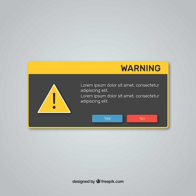Warnung pop-up mit flachem design Kostenlosen Vektoren