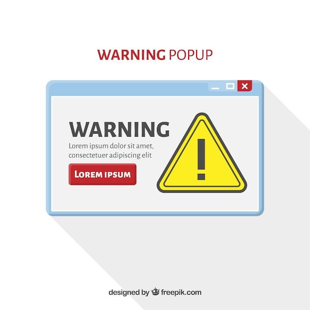 Warnung pop-up-vorlage mit flachen design Kostenlosen Vektoren