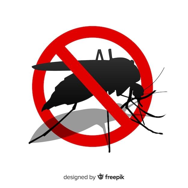 Warnzeichen des moskitos mit flachem design Kostenlosen Vektoren