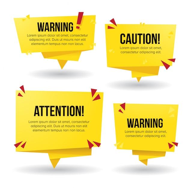 Warnzeichen in der gelben papierartfahne Premium Vektoren