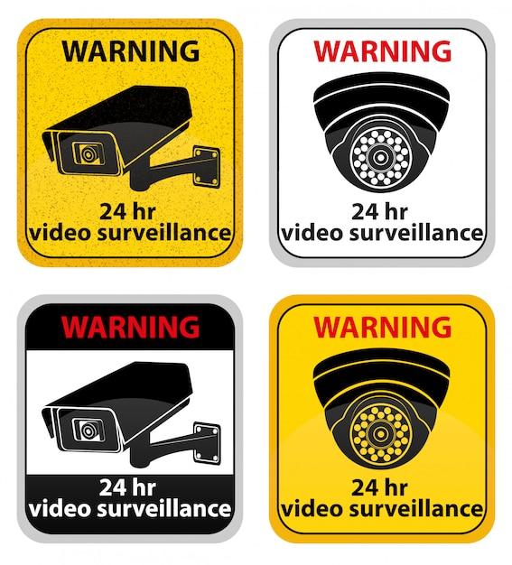 Warnzeichen-vektorillustration der videoüberwachung Premium Vektoren