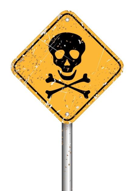 Warnzeichensymbol des gefahrenschädelpfostens, vektorschmutzart Premium Vektoren