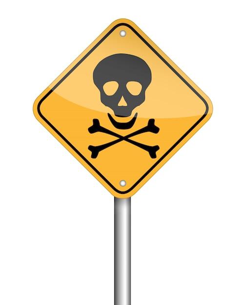 Warnzeichensymbol des gefahrenschädelpfostens Premium Vektoren