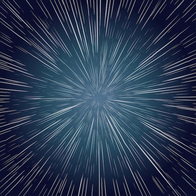 Warp stars. zoomen durch den weltraum, explosion ray galaxy. abstrakter hintergrund Premium Vektoren
