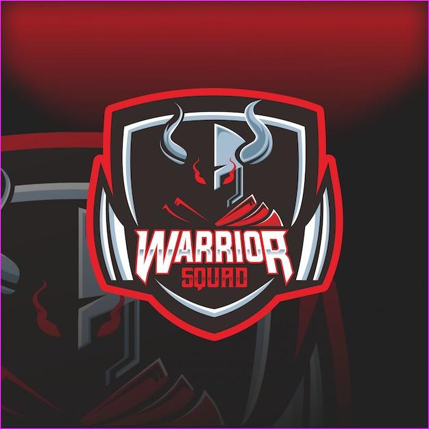 Warrior squad helm esport maskottchen logo Premium Vektoren