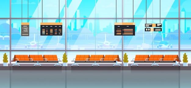 Wartehalle oder abflug-aufenthaltsraum-moderner flughafen-innenraum-anschluss Premium Vektoren