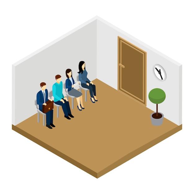 Warten auf interview illustration Kostenlosen Vektoren