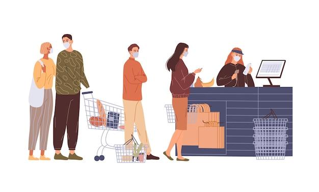 Warteschlange der käufer in gesichtsmasken an der kasse. Premium Vektoren