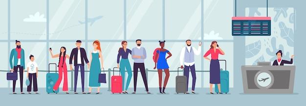 Warteschlange zum check-in am flughafen Kostenlosen Vektoren