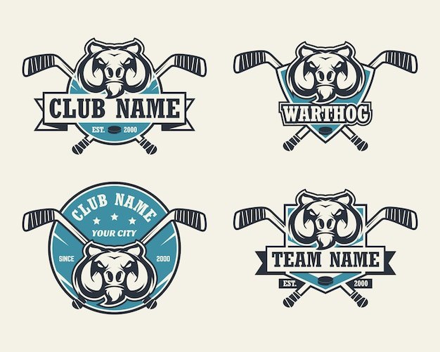 Warzenschwein kopf sport logo. satz hockey-logos. Premium Vektoren