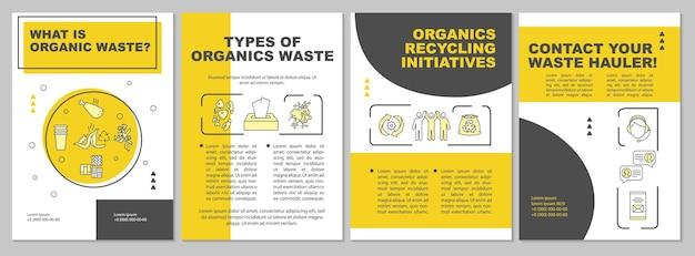 Was ist eine broschürenvorlage für organische abfälle? bio-recycling-initiative. flyer, broschüre, faltblattdruck, umschlaggestaltung mit linearen symbolen. Premium Vektoren