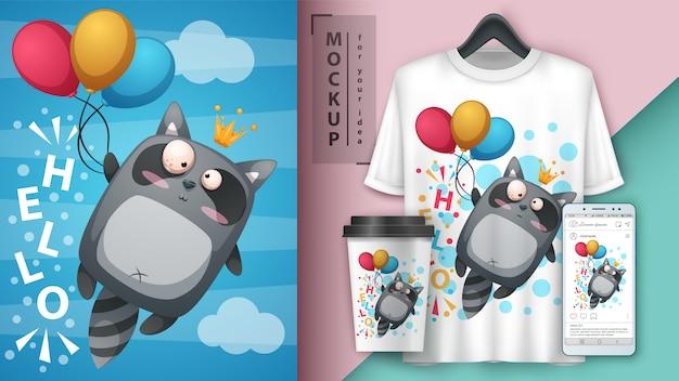 Waschbärfliegen-luftballonillustration für schale, t-shirt und smartphonetapete Premium Vektoren