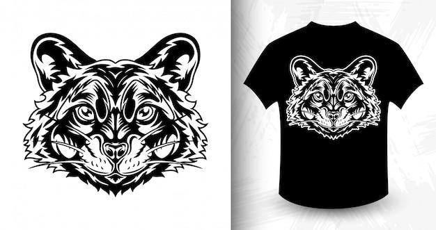 Waschbärgesicht, idee für t-shirt in der einfarbigen art Premium Vektoren