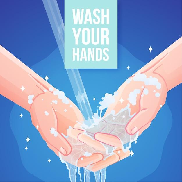 Wasche deine hände Kostenlosen Vektoren
