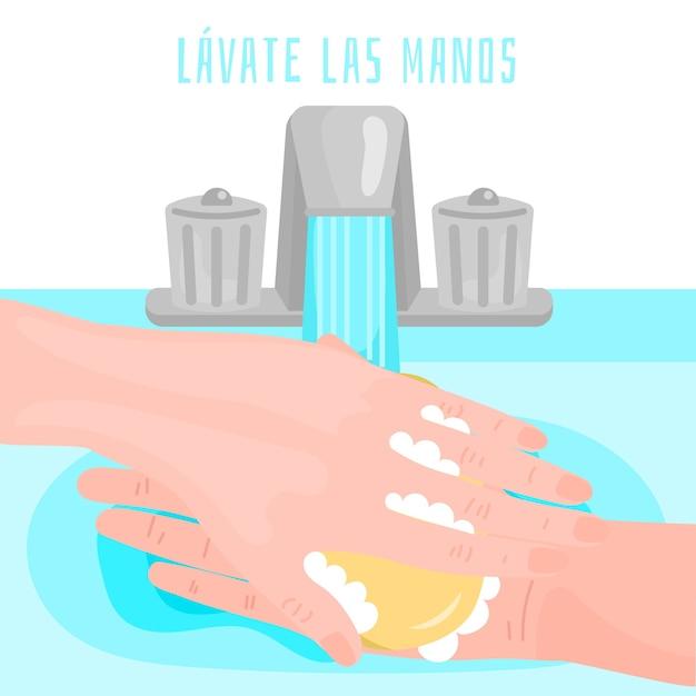 Waschen sie ihre hände konzept auf spanisch Kostenlosen Vektoren