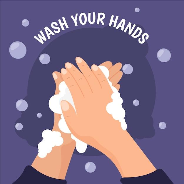 Waschen sie ihre hände konzept Kostenlosen Vektoren