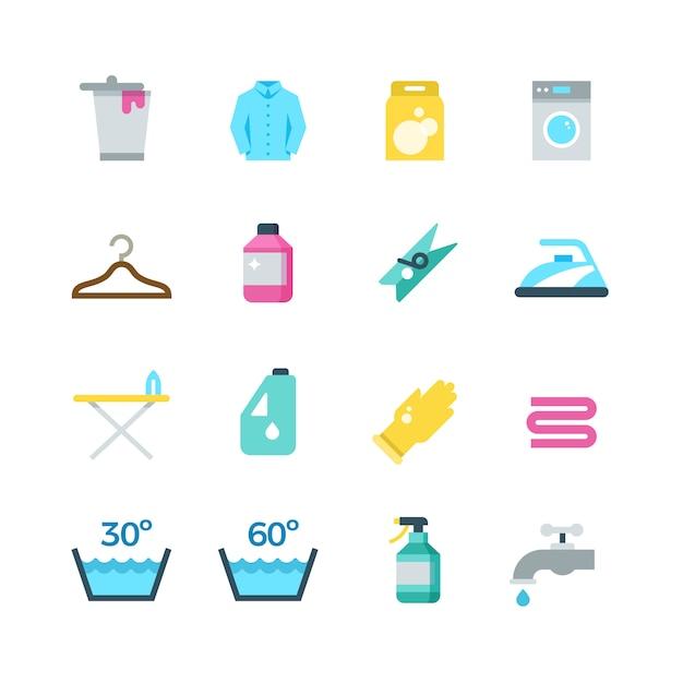 Waschen trocknen des haushalts und flache wäschereivektorikonen Premium Vektoren