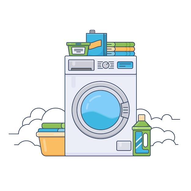 Waschküche mit funktionierender waschmaschine. dünne linie flache designvektorillustration Premium Vektoren