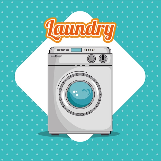 Waschküche mit waschmaschine und kleidung | Download der ...
