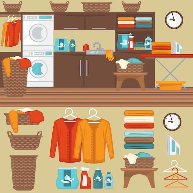 Waschküche mit waschmaschinenillustration. Premium Vektoren