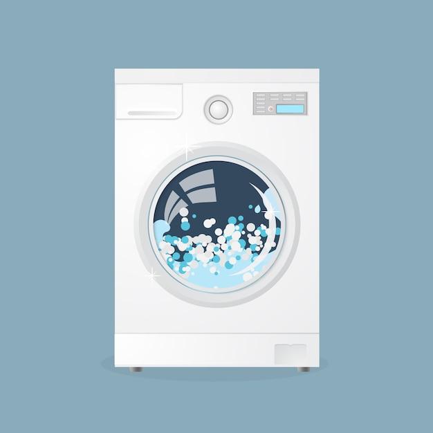 Waschmaschine im flachen stil Premium Vektoren