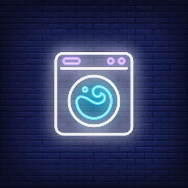 Waschmaschine leuchtreklame Kostenlosen Vektoren
