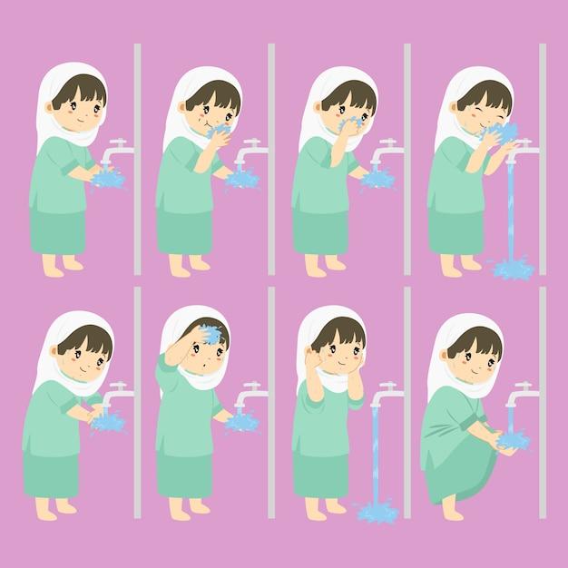 Waschung, wudhu schritte für kindervektorsammlung Premium Vektoren