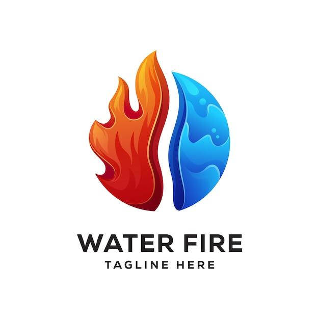 Wasser feuer logo kombination Premium Vektoren