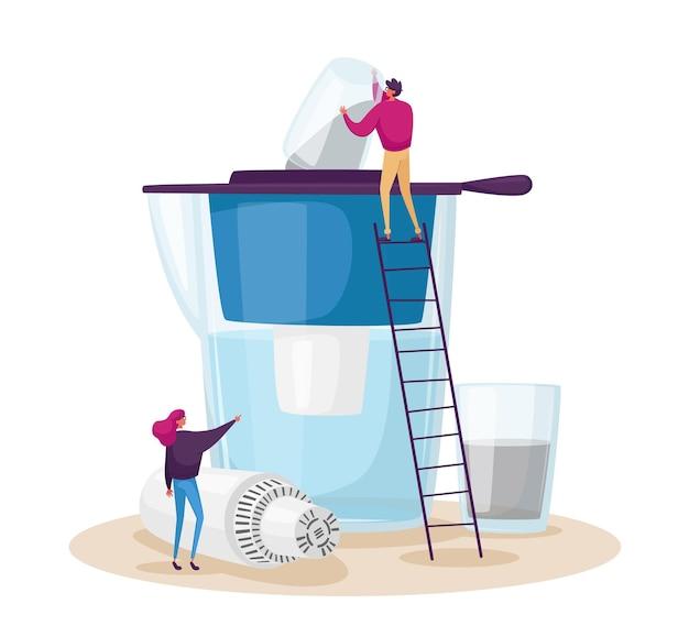 Wasser haushaltsfiltration, reinigungskonzept Premium Vektoren