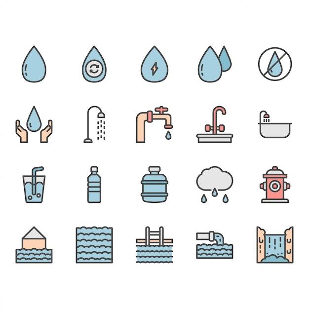 Wasser-symbol und symbolsatz Premium Vektoren