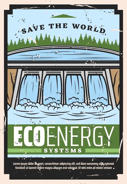 Wasserdamm des wasserkraftwerks, öko-energie Premium Vektoren