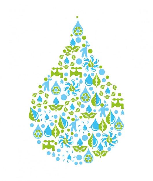 Wasserdesign über weißer hintergrundvektorillustration Premium Vektoren