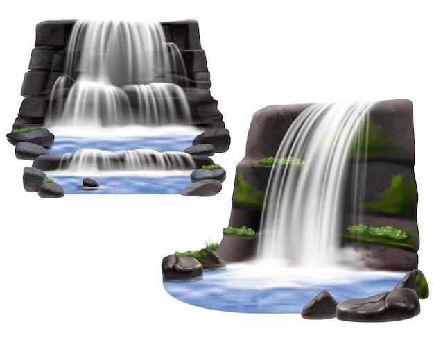 Wasserfälle realistische kompositionen Kostenlosen Vektoren