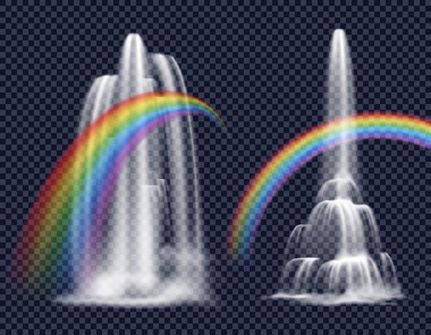 Wasserfälle und regenbogen dekorative elemente Kostenlosen Vektoren